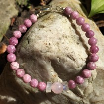 Sonya Julie Creative - Pink Tourmaline Bracelet with Rose Quartz, Moonstone, and Silver Toggle - photo by Sonya Julie