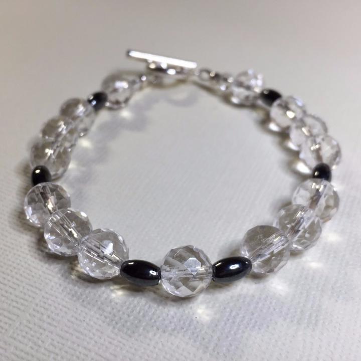 Sonya Julie Creative - Faceted Quartz and Hematite Bracelet
